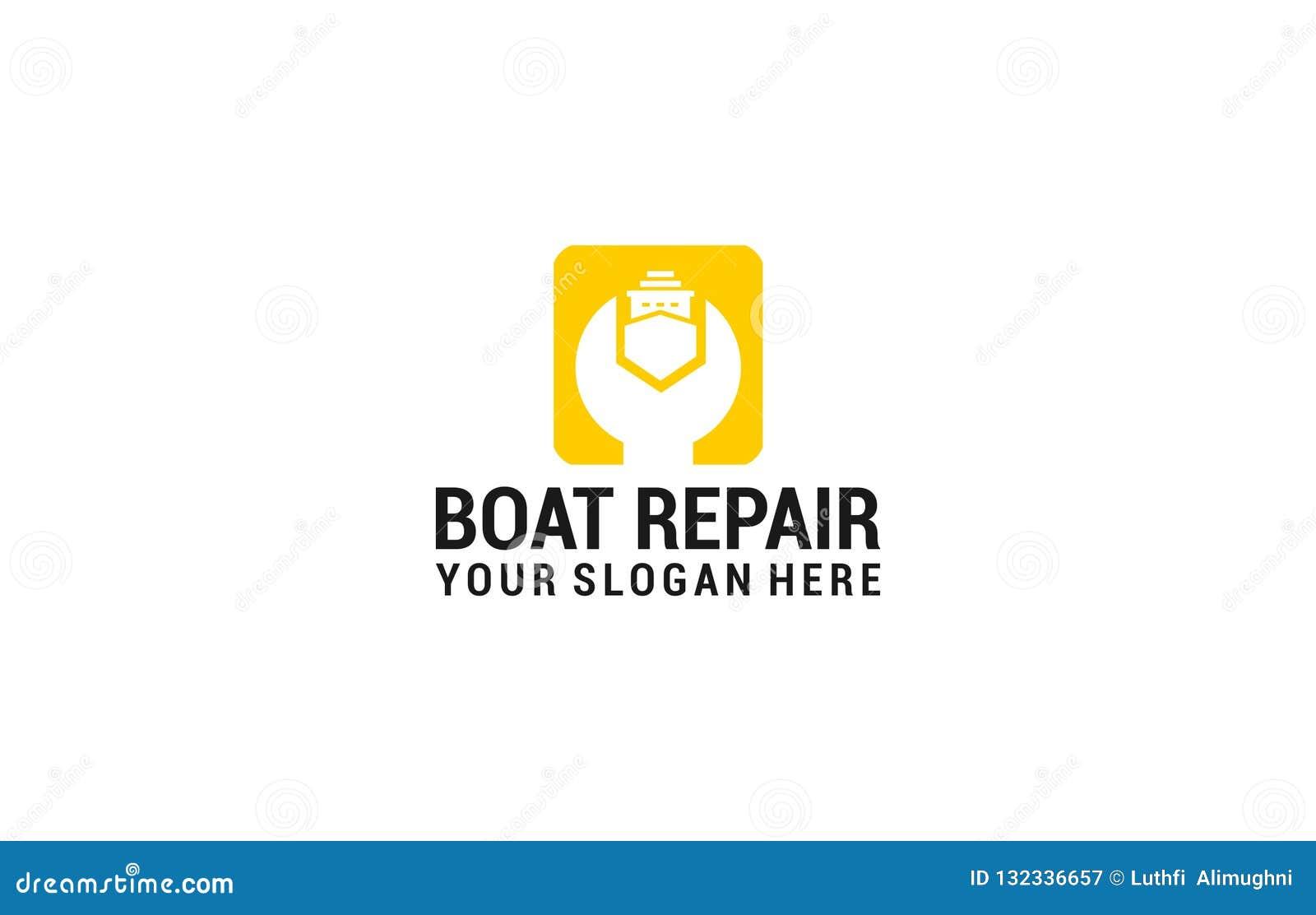 Logo de réparation de bateau