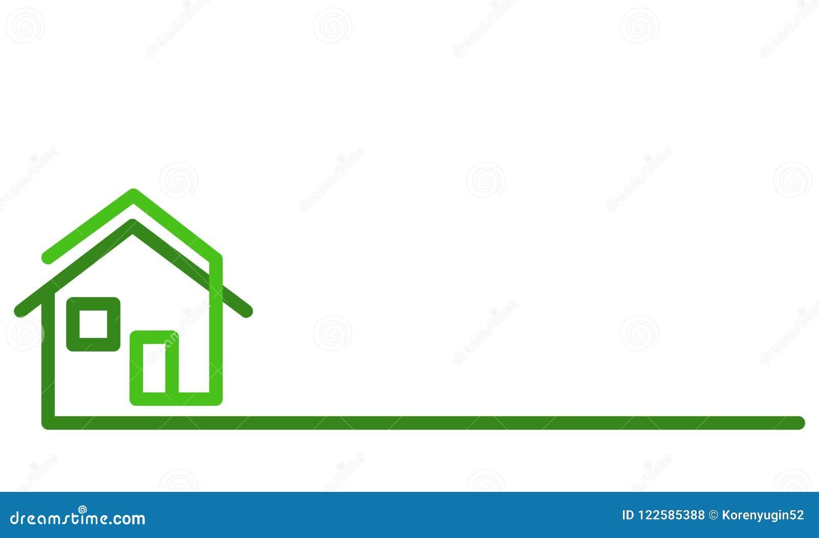 Logo de Real Estate, maison verte sur le blanc, illustratio courant de vecteur