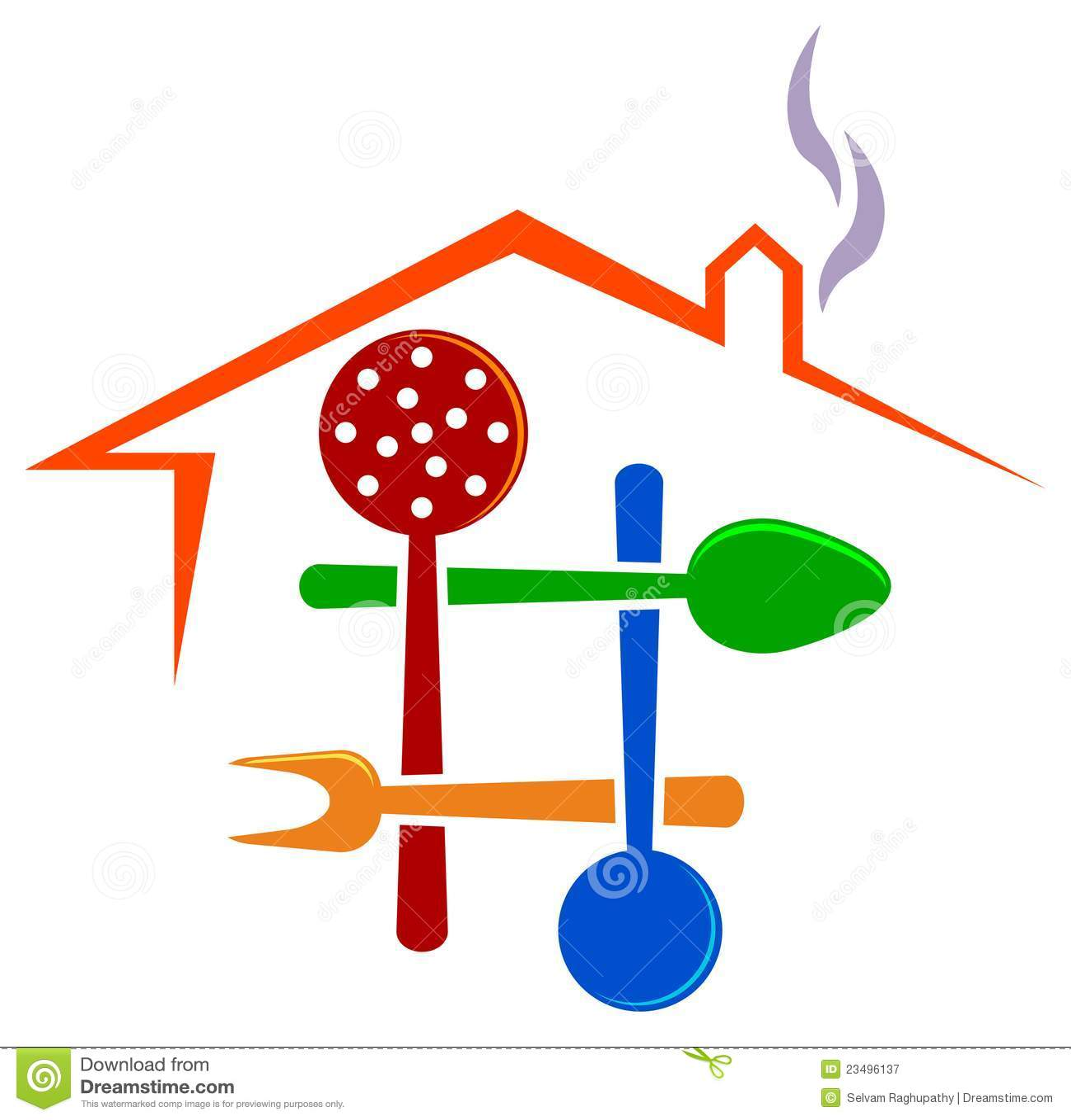 Conception d'isolement illustrée de logo de restaurant.