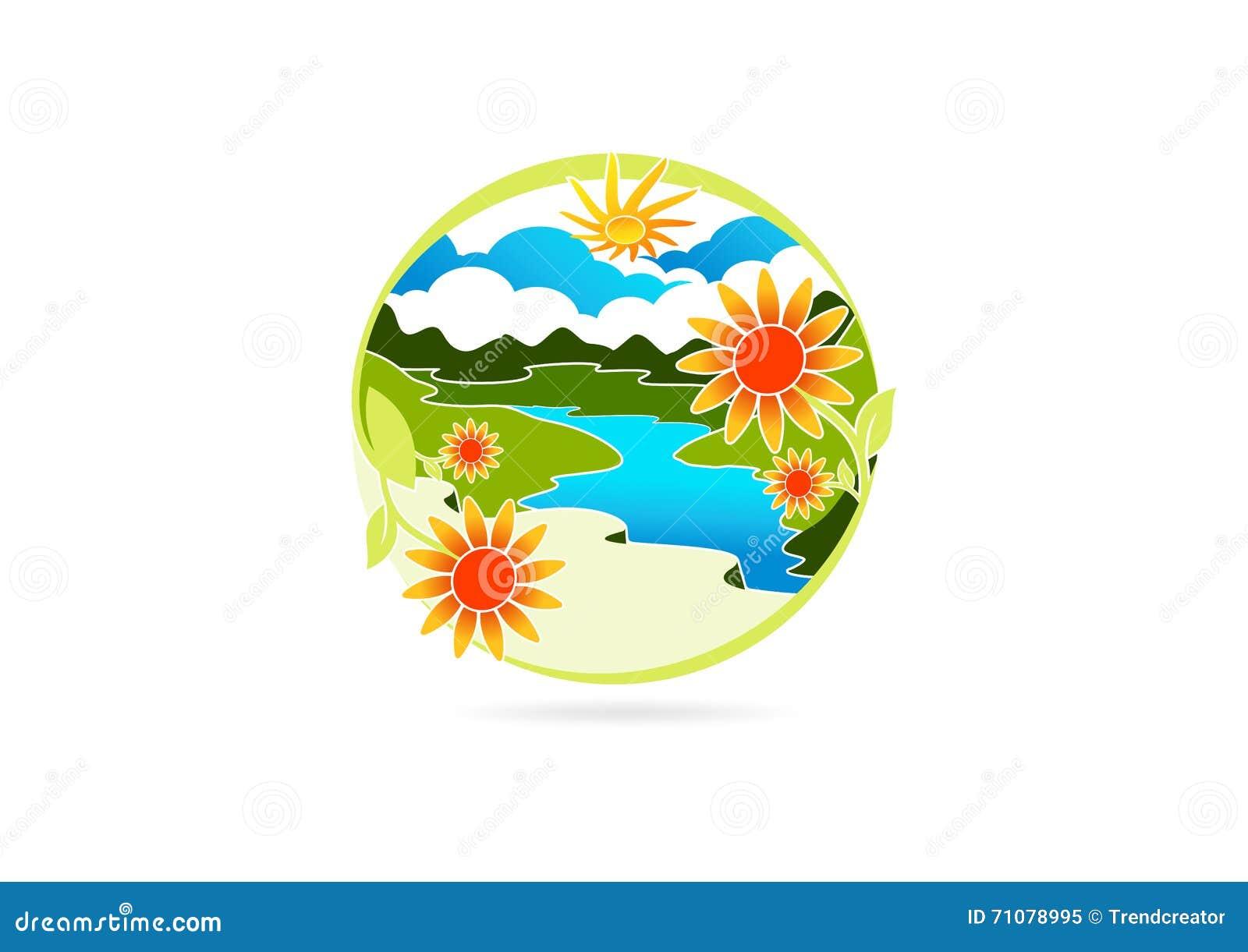Logo de rivière, symbole de feuille de fleur, icône de montagne de nature, conception de l avant-projet de paysage