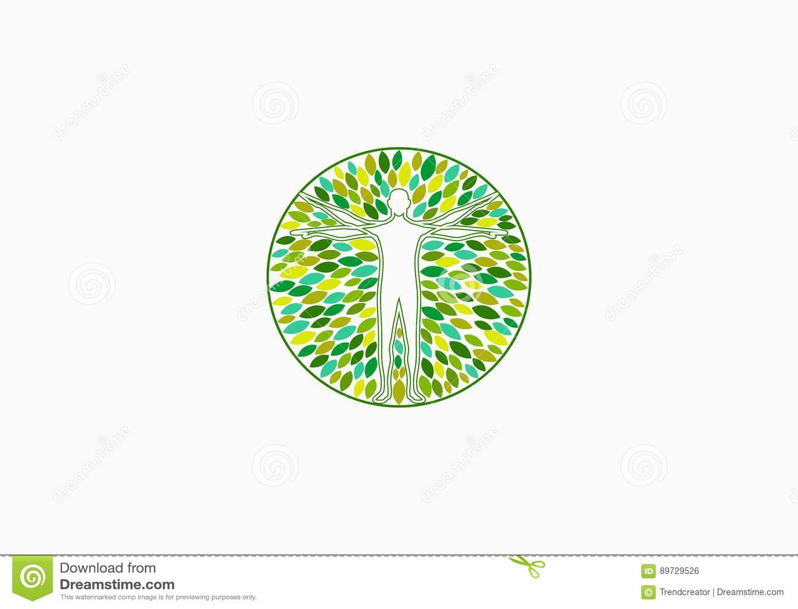 Logo de santé de corps, bien-être physique naturel et conception de l avant-projet de thérapie de personnes