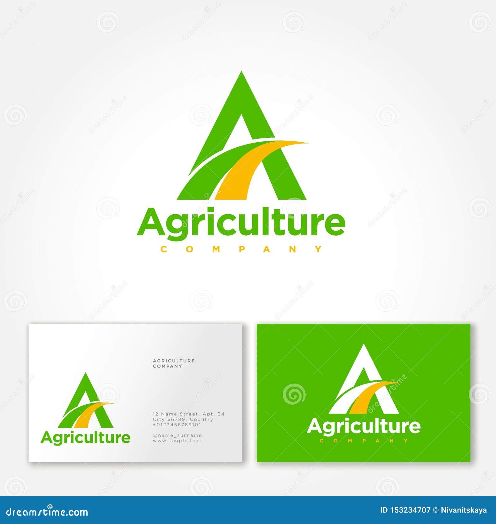Logo de soci?t? d agriculture Un monogramme avec le symbole de champs Emblème organique de nourriture fraîche