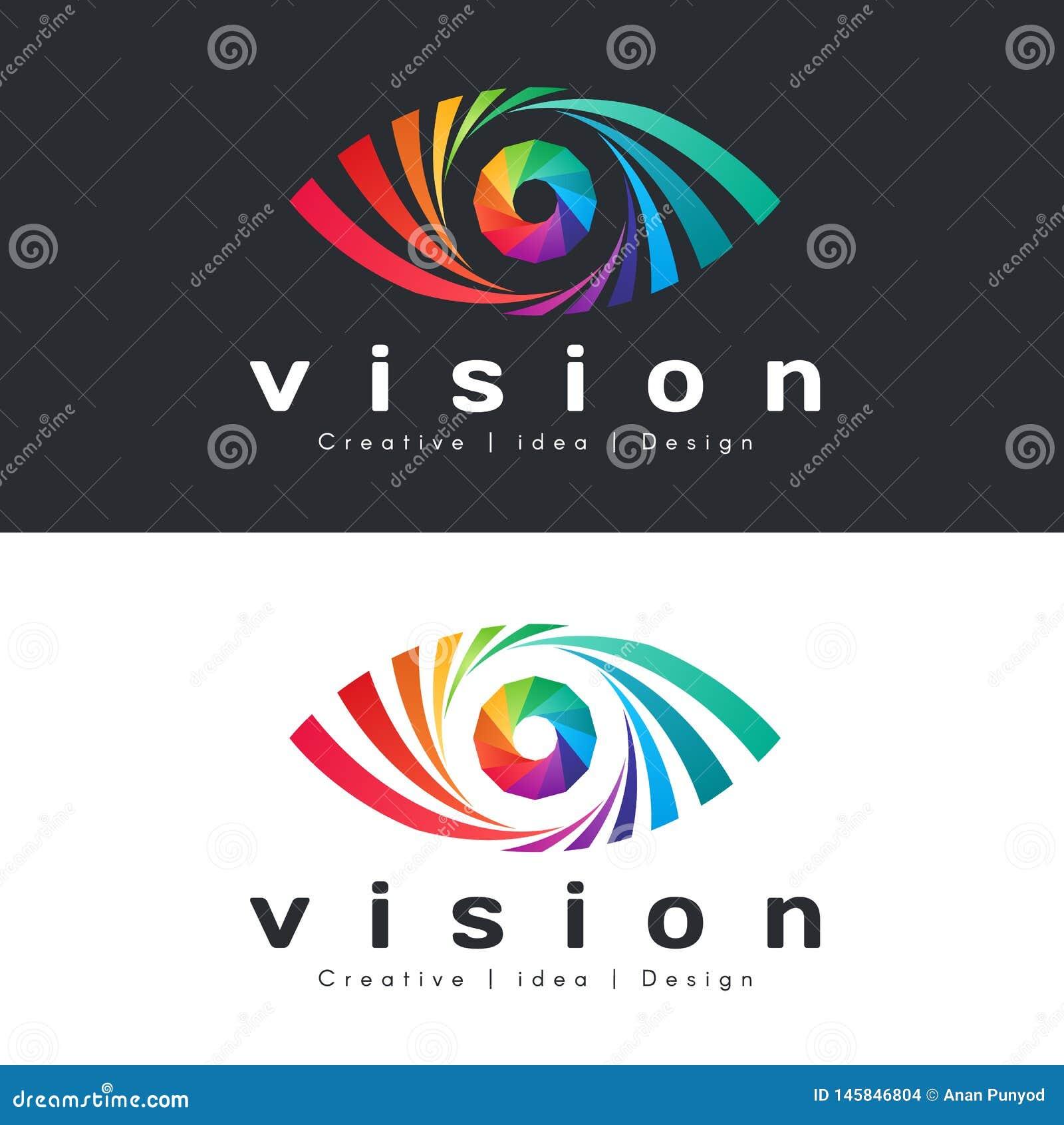Logo de vision d oeil avec l oeil coloré abstrait d arc-en-ciel sur la conception foncée et blanche de vecteur de fond