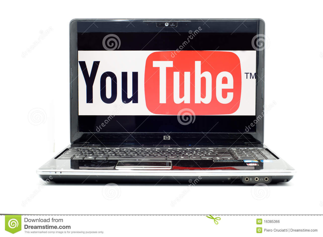 Logo de YouTube sur l ordinateur portatif de HP