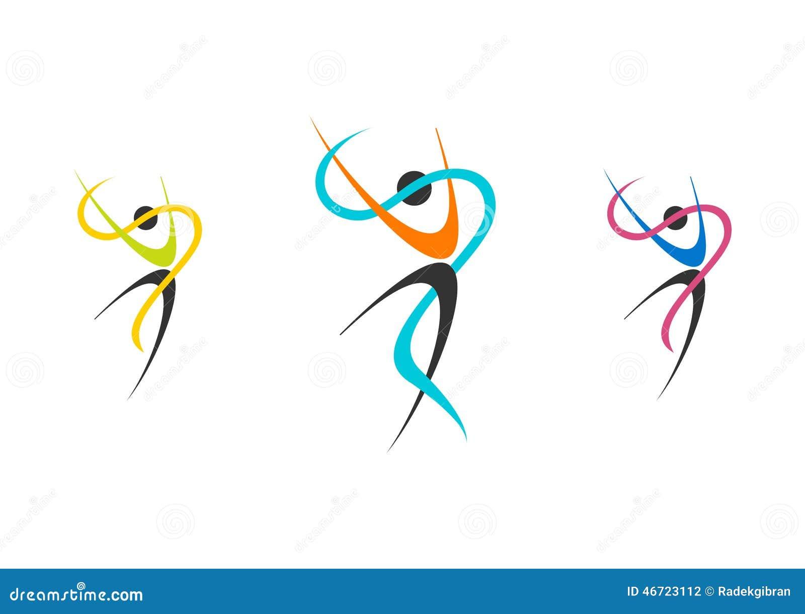 Logo dei ballerini, insieme della ballerina di benessere, illustrazione di balletto, forma fisica, ballerino, sport, natura della