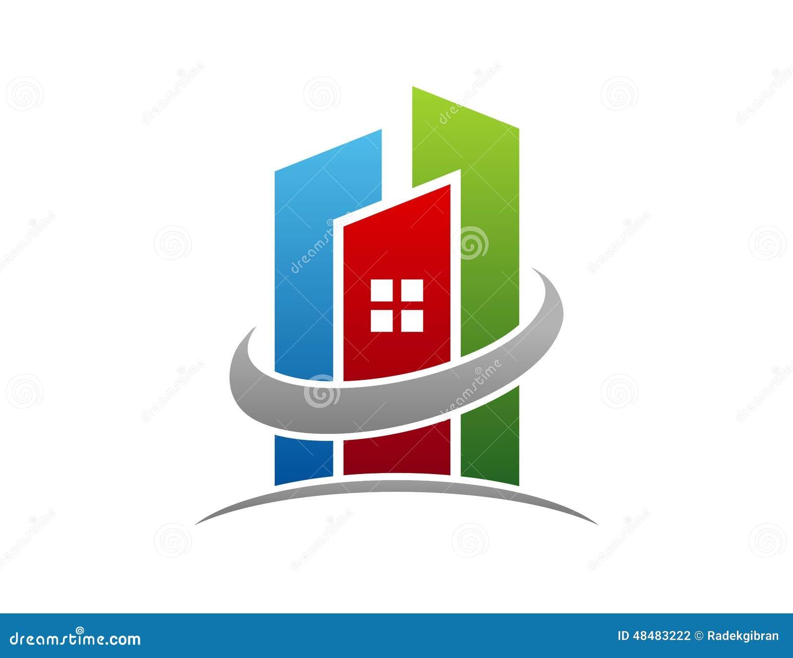 Logo del bene immobile, icona di simbolo dell appartamento della costruzione del cerchio
