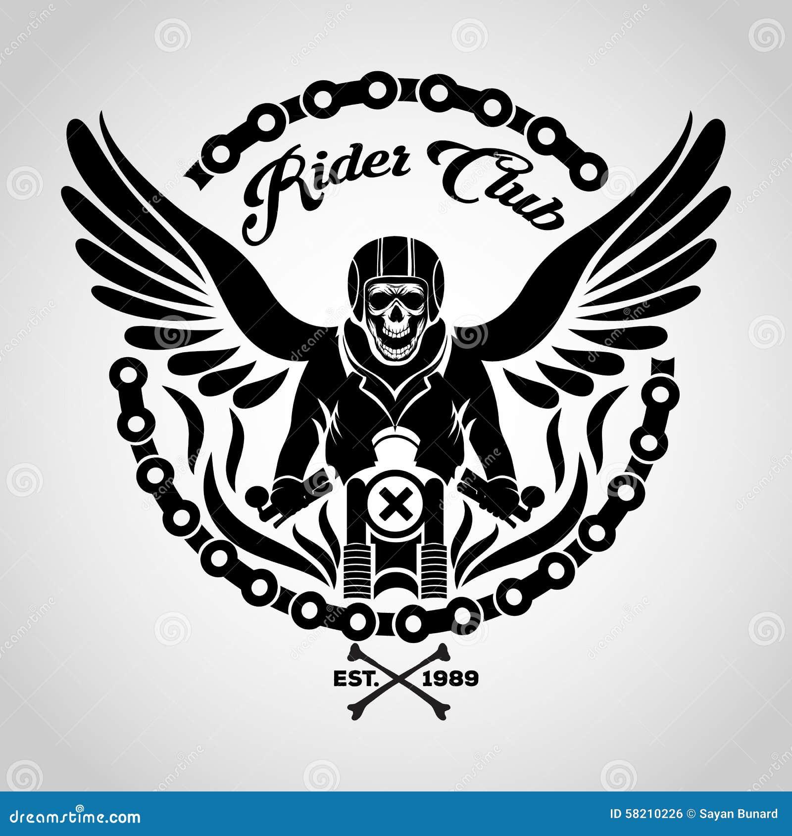 Logo del cranio del motociclista