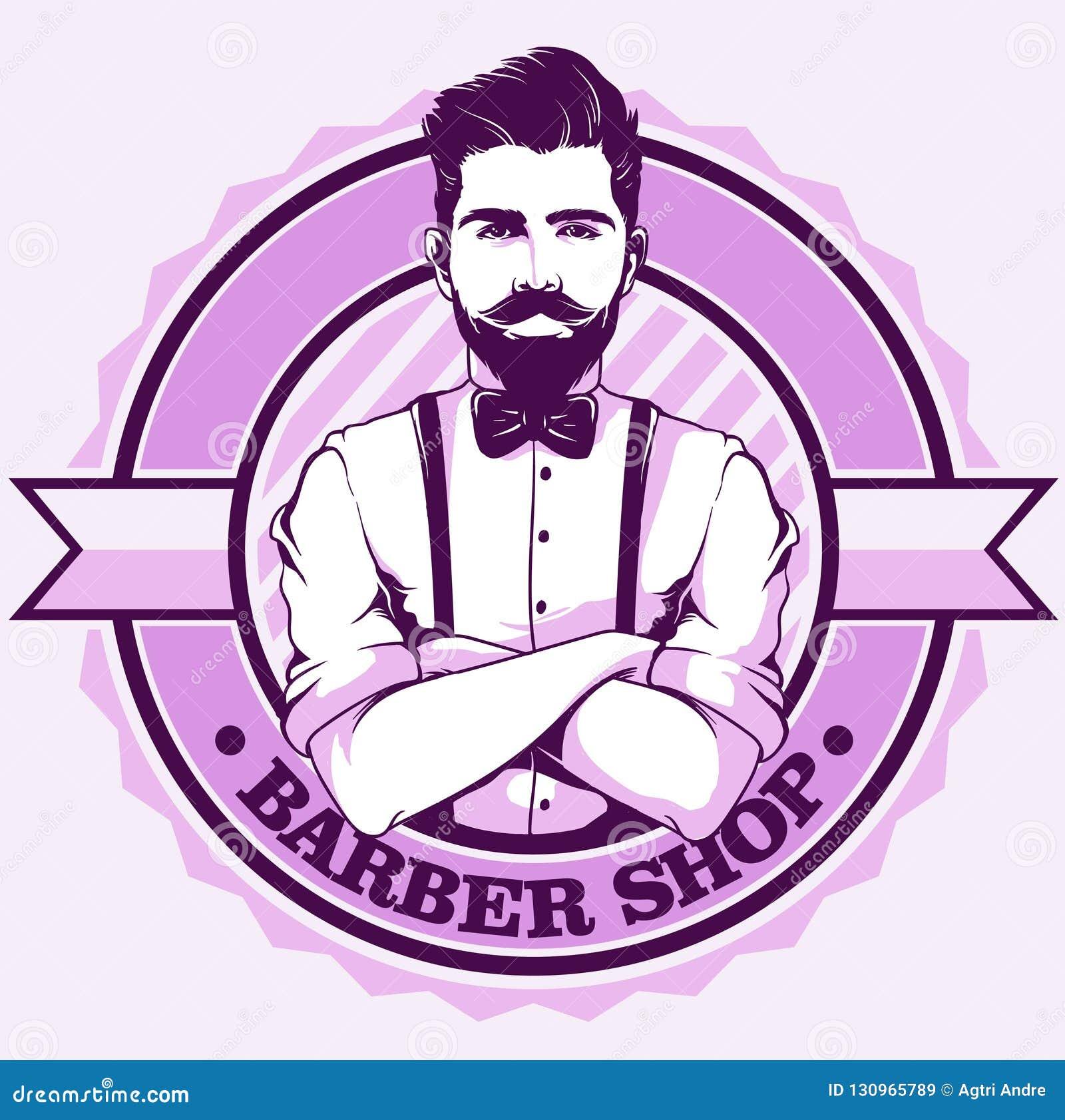 Logo del negozio di barbiere con l uomo
