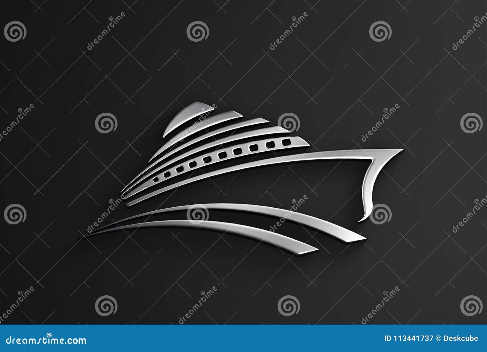 Logo dell argento di giro della nave da crociera 3d rendono l illustrazione
