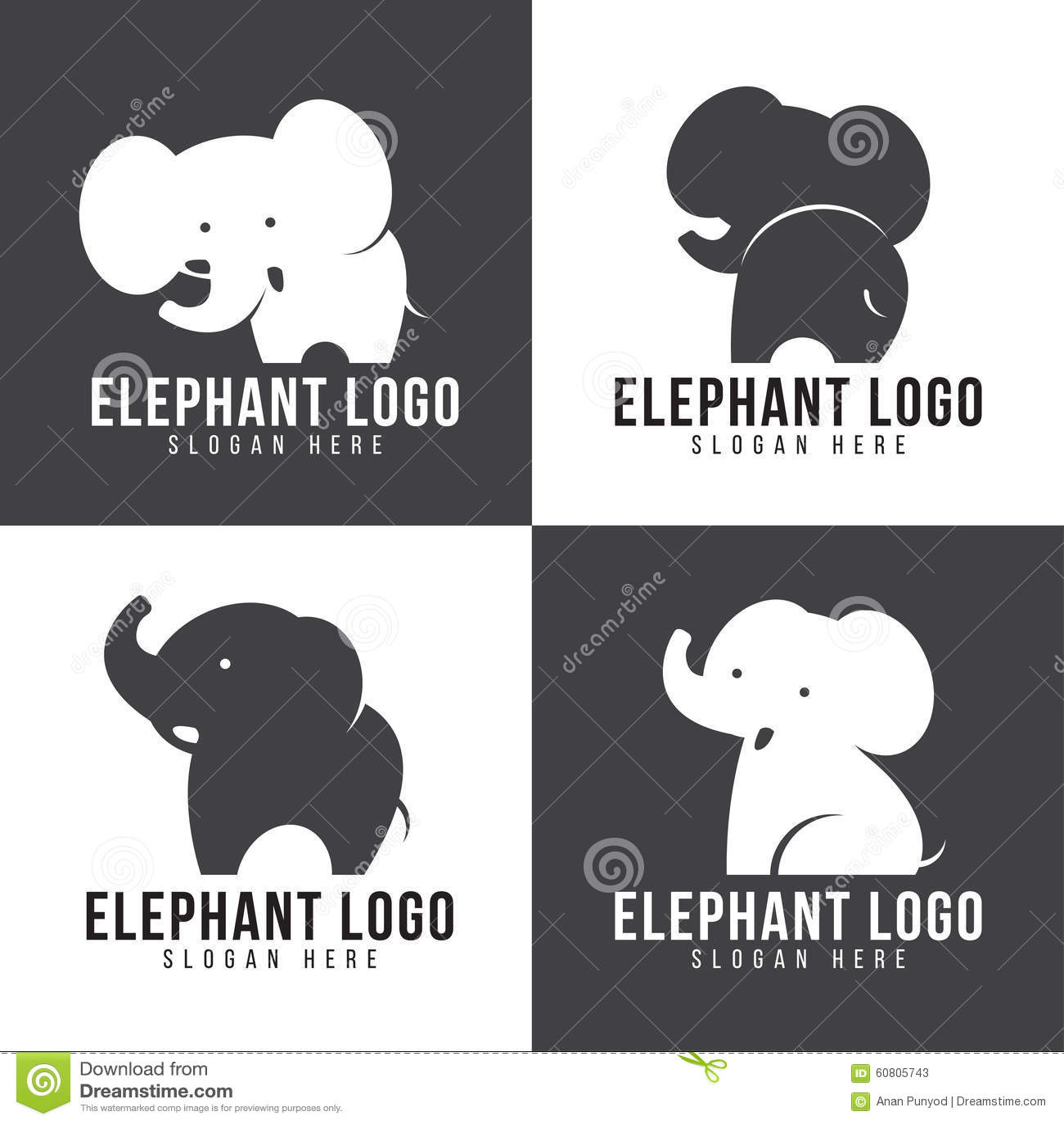 Logo dell 39 elefante stile sveglio dell 39 elefante 4 e tono - Elefante foglio di colore dell elefante ...