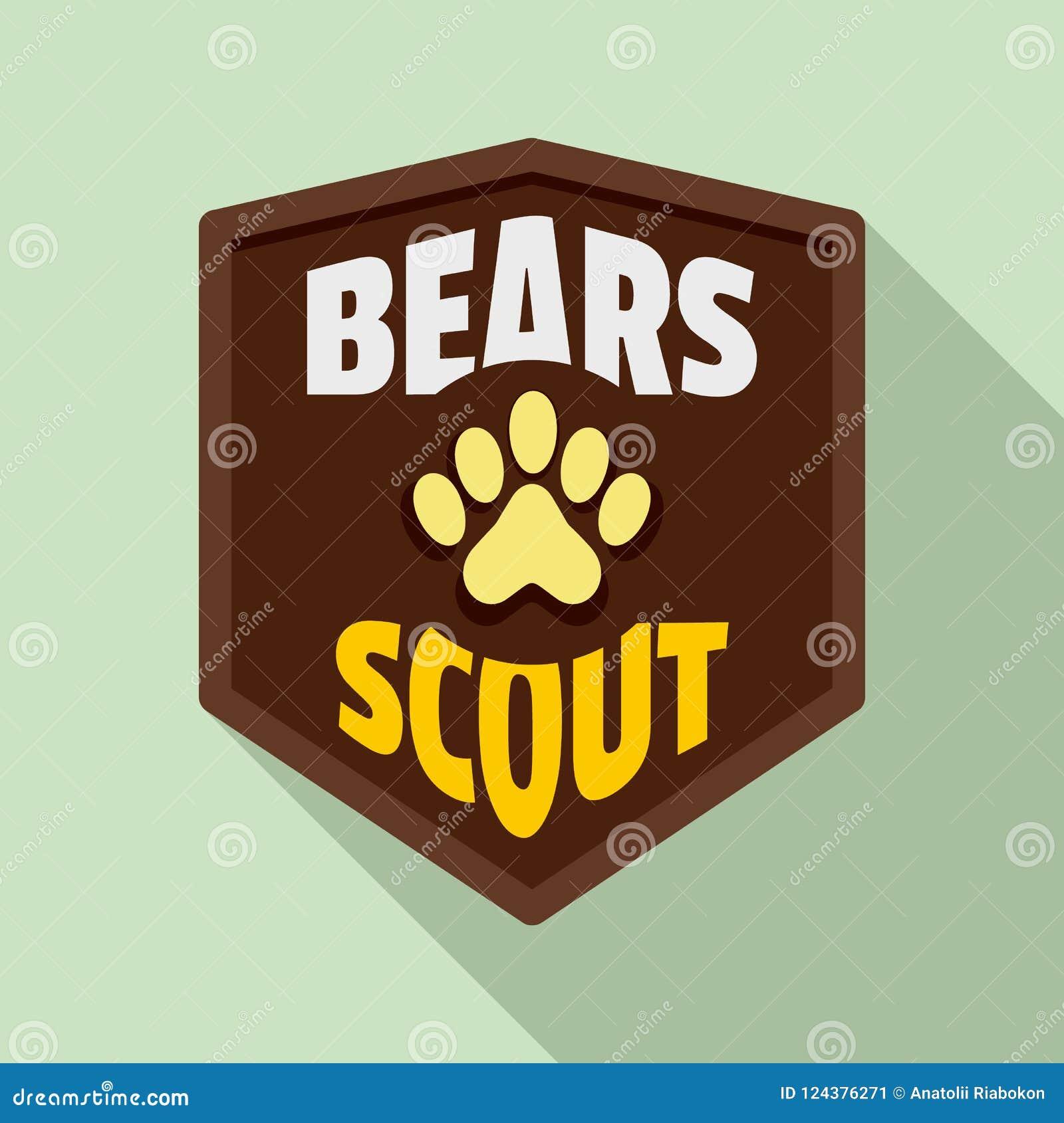 Logo dell esploratore degli orsi, stile piano