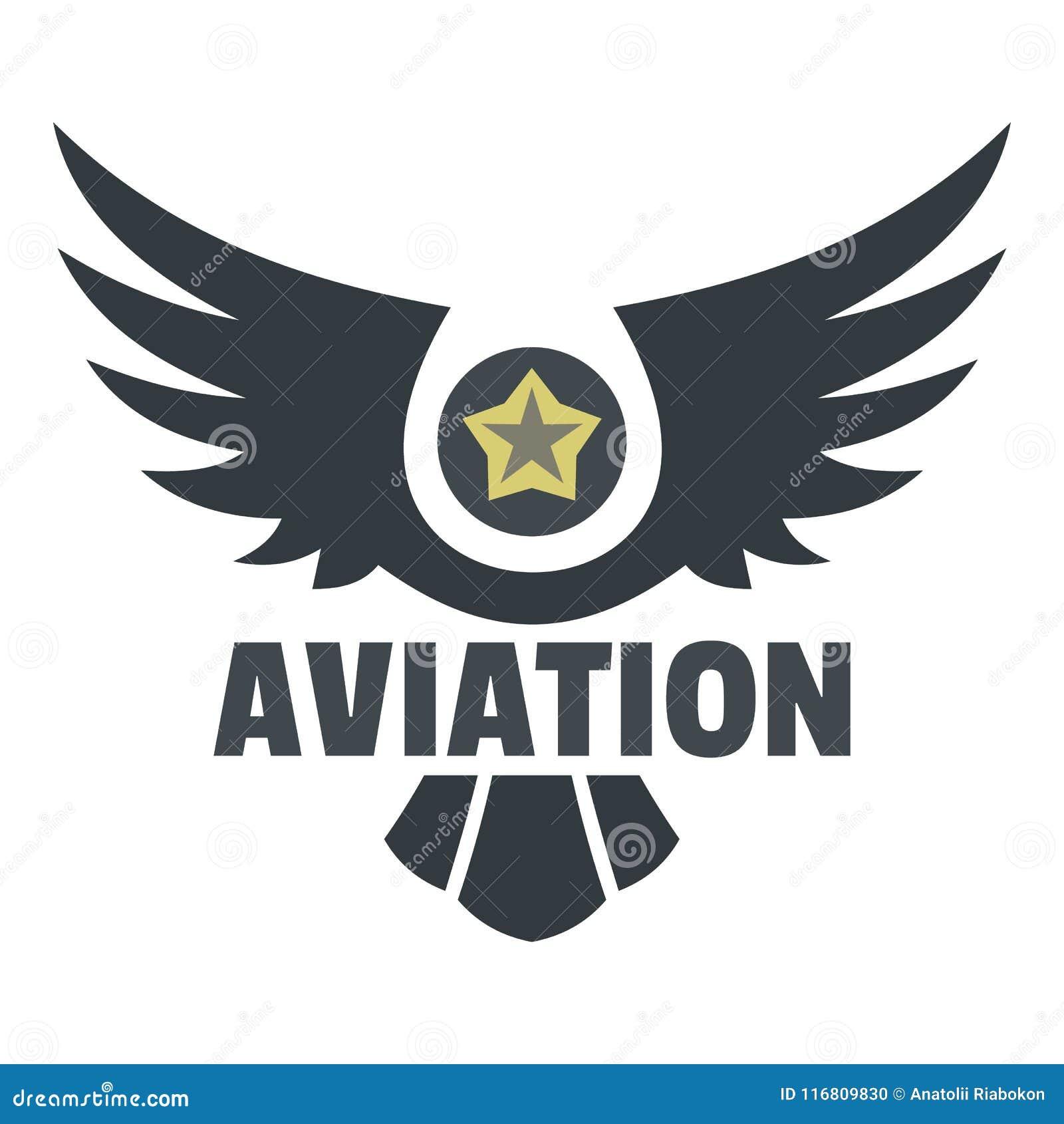 Logo dell icona di aviazione, stile piano