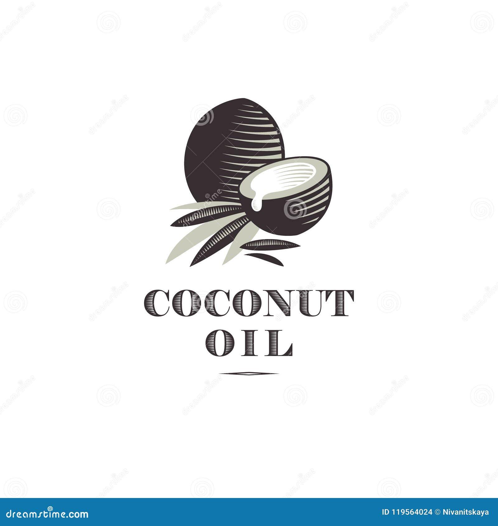 Logo dell olio di cocco Cochi maturi e mezze noce di cocco e foglie con le lettere