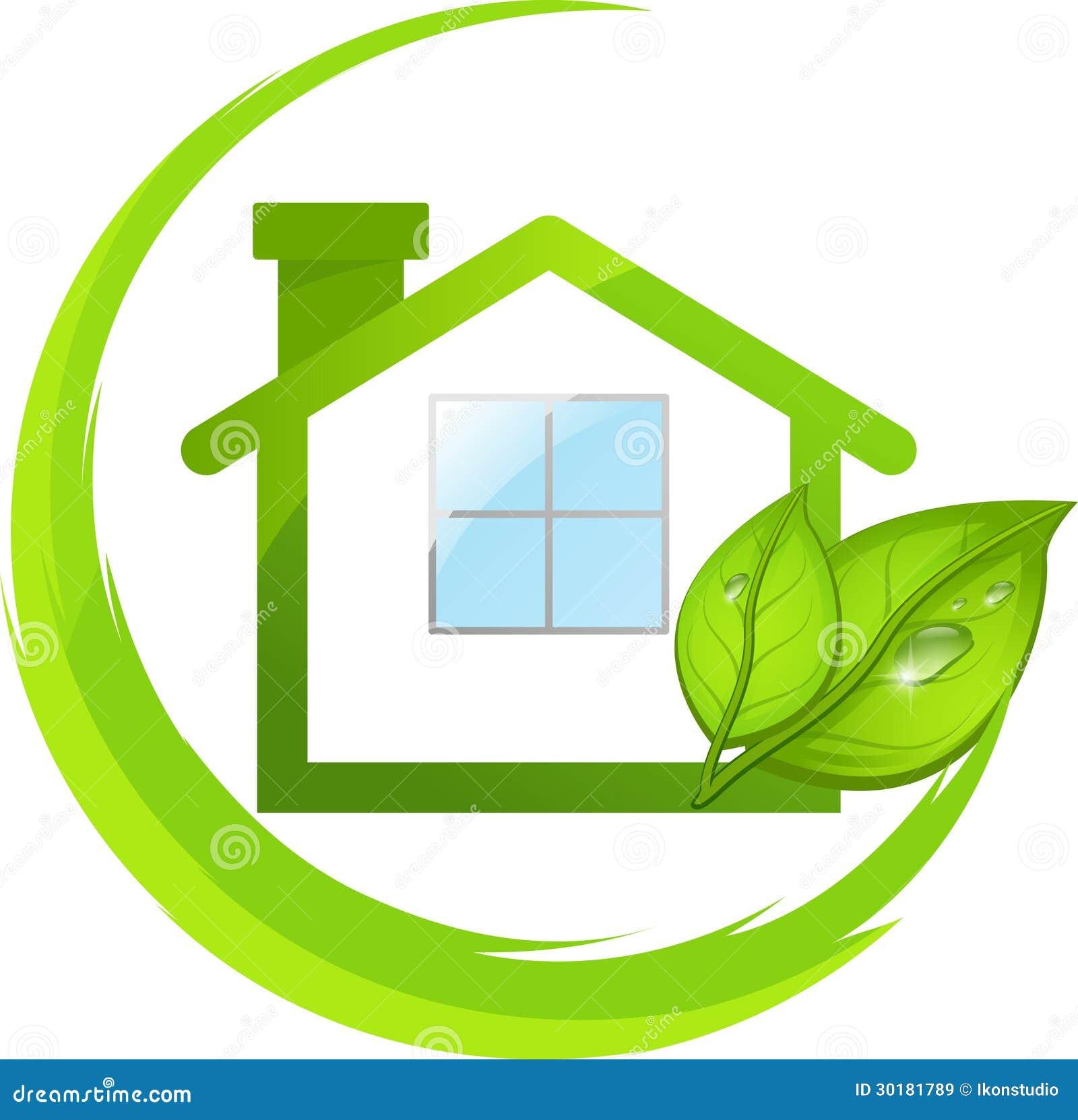logo verde della casa di eco con le foglie immagini stock