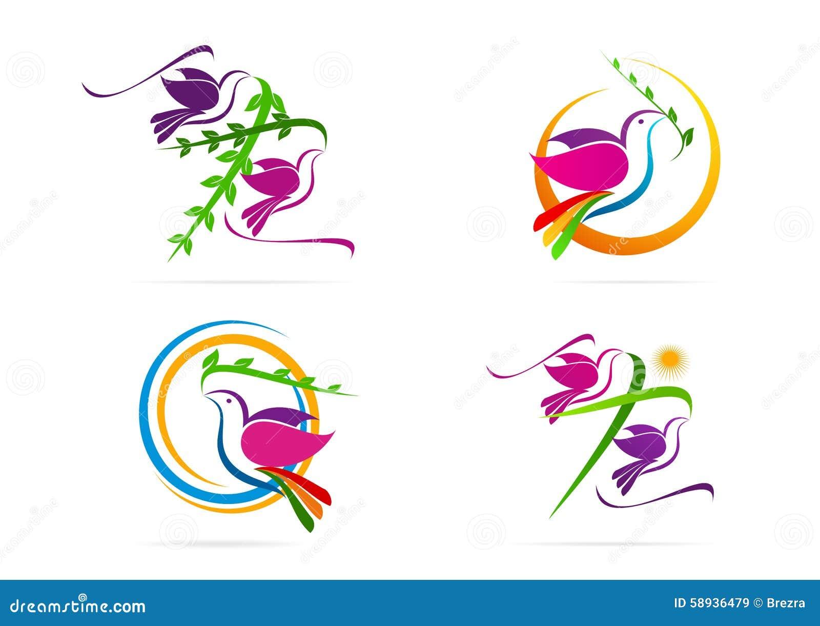Estremamente Logo Della Colomba, Piccione, Sole Con Il Simbolo Trasversale  OU38
