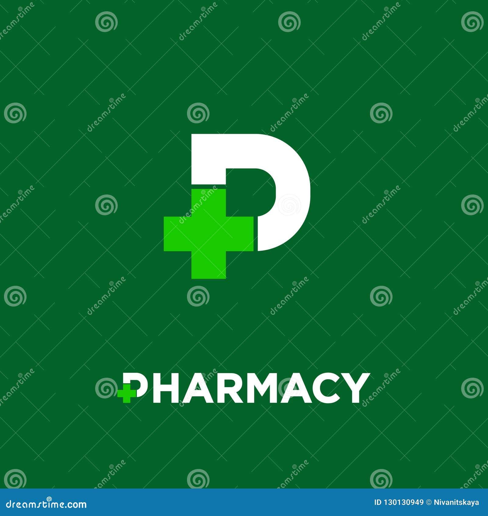 Logo della farmacia Lettera P con l icona trasversale della farmacia, isolata su un fondo verde scuro