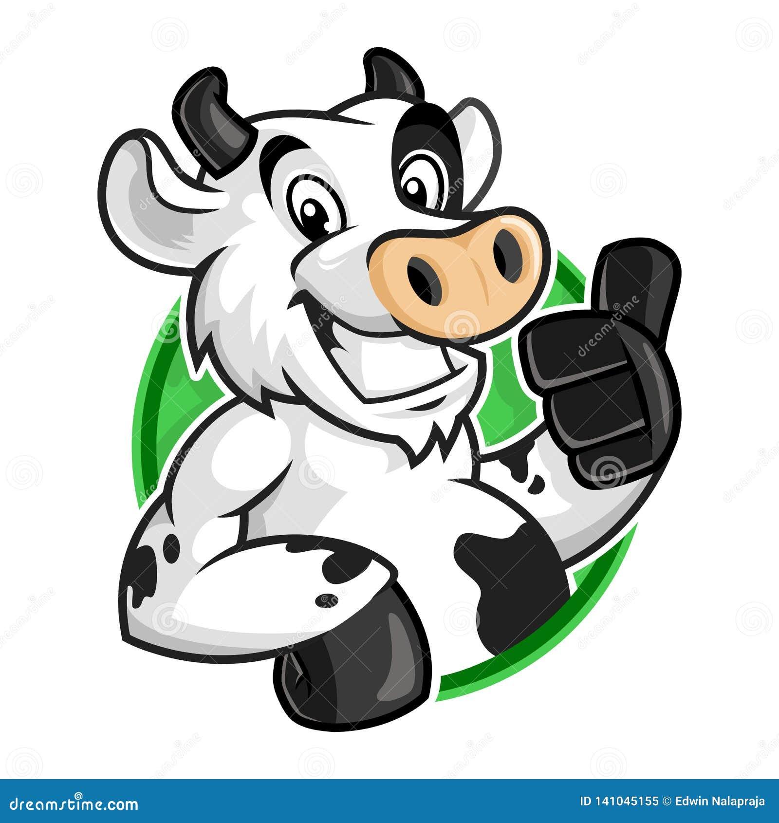Logo della mascotte della mucca, vettore del carattere della mucca per il modello di logo, stile del fumetto