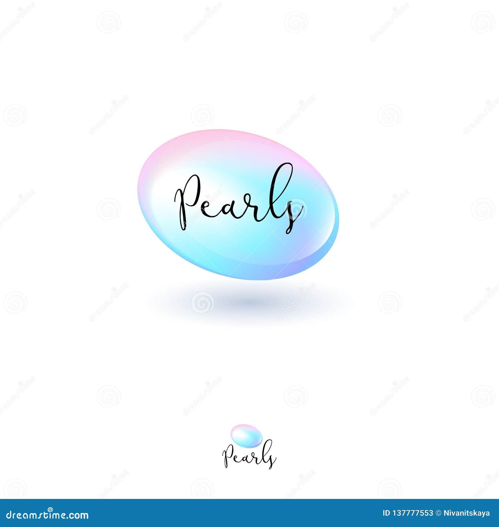 Logo della perla Perla della perla e lettere scritte a mano