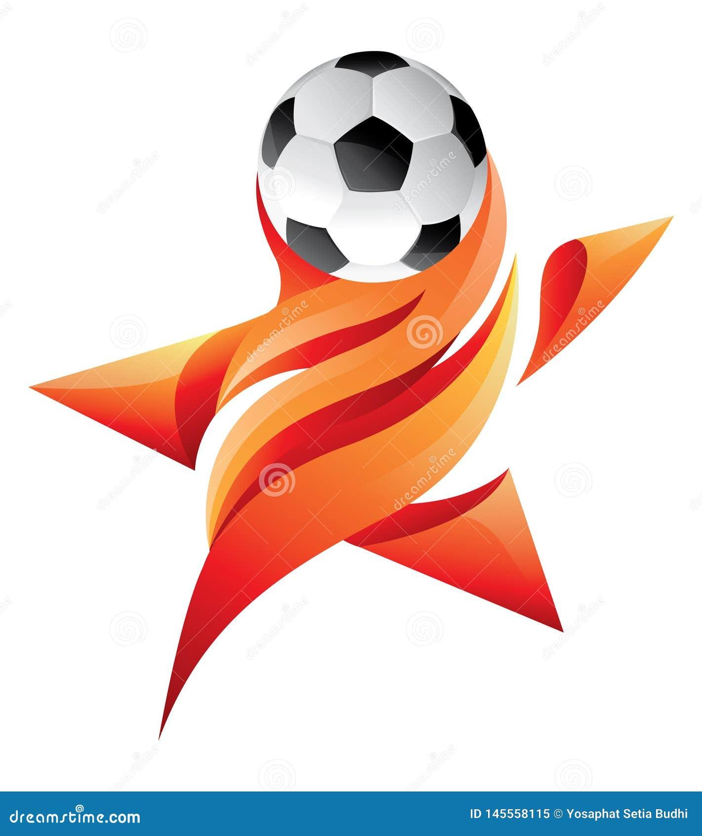 Logo della stella del calcio con il fuoco fiammeggiare