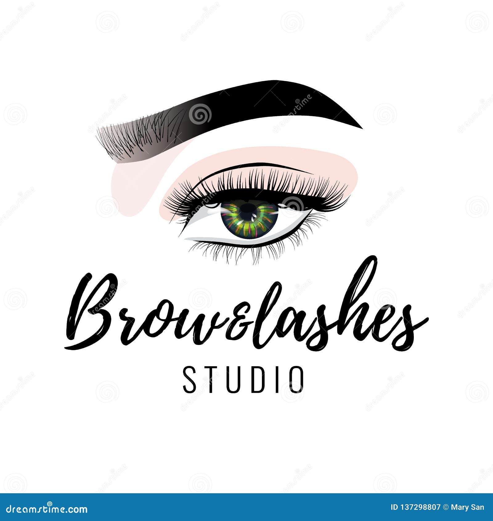 Logo dello studio dei cigli e del sopracciglio, bella progettazione perfetta di trucco dell occhio, sferze nere lunghe, vettore