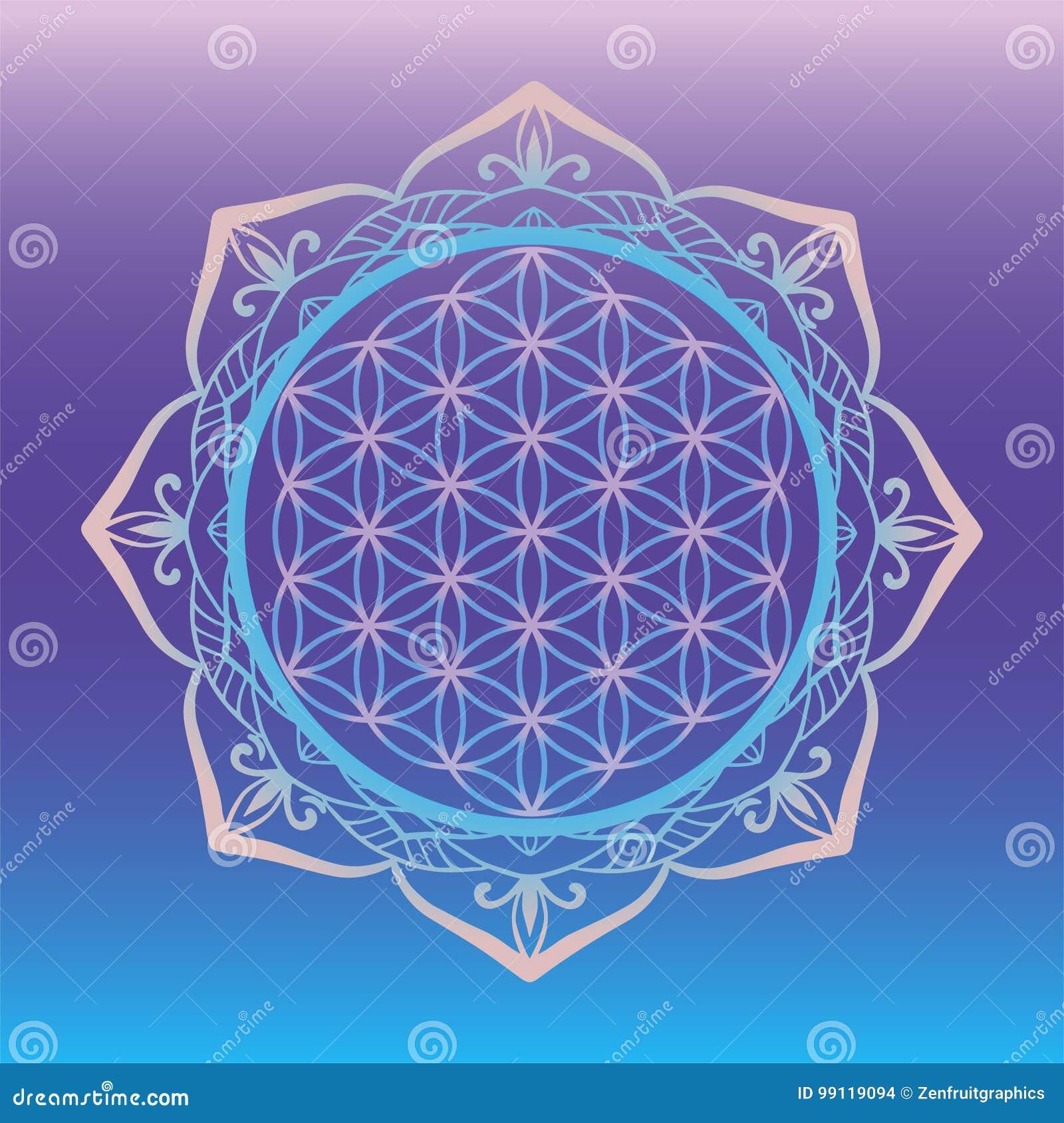 Logo dello studio di yoga, fiore di vita incorniciato con la mandala rotonda, simboli sacri della geometria ed elementi per alche