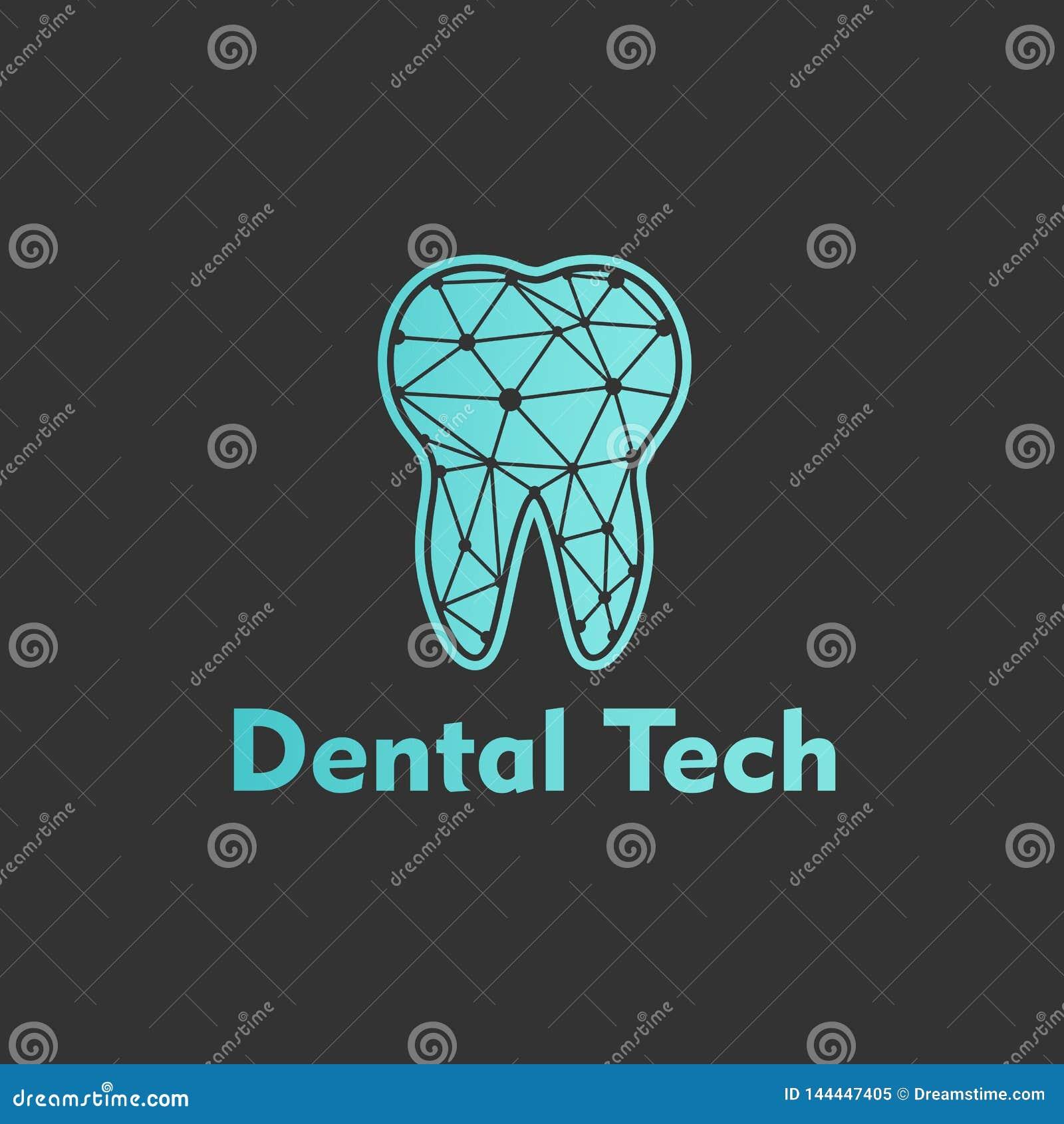 Logo Dental Tech no fundo azul Vetor