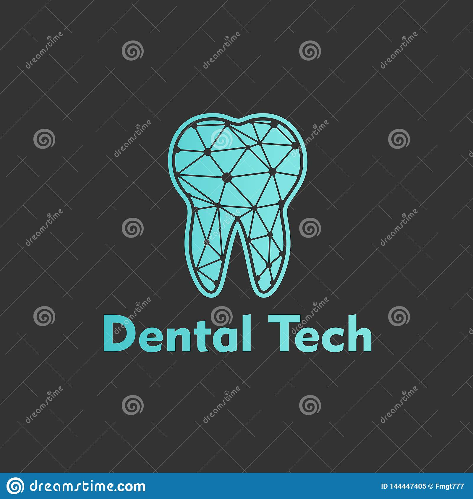 Logo Dental Tech su fondo blu Vettore