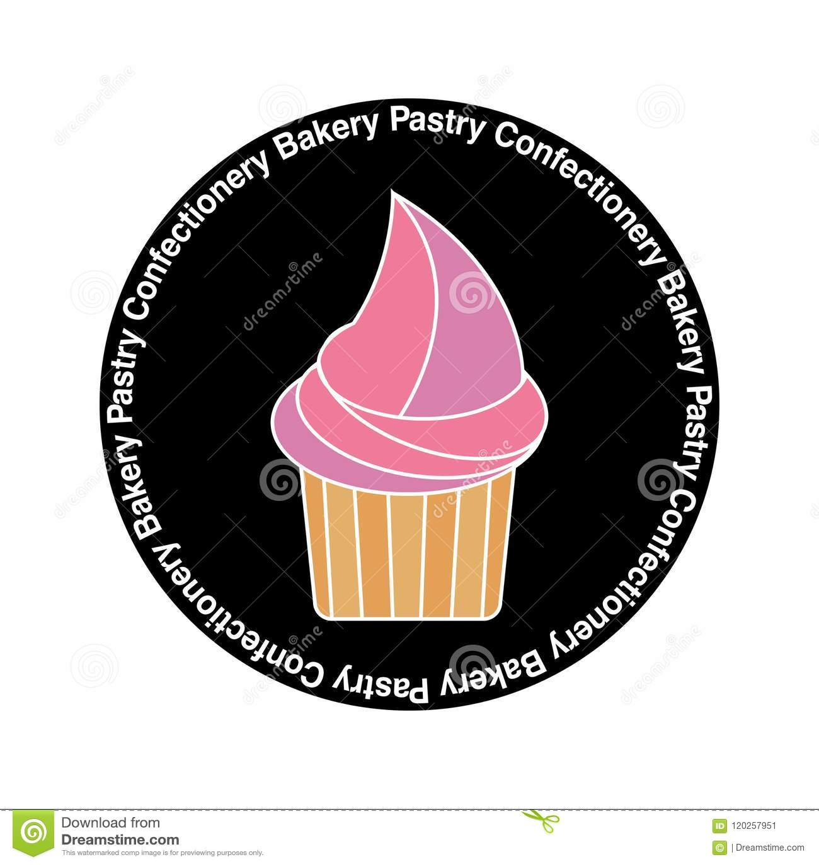 Logo des kleinen Kuchens, Aufkleber, Fahne für Süßigkeiten, Gebäck, Bäckereishop