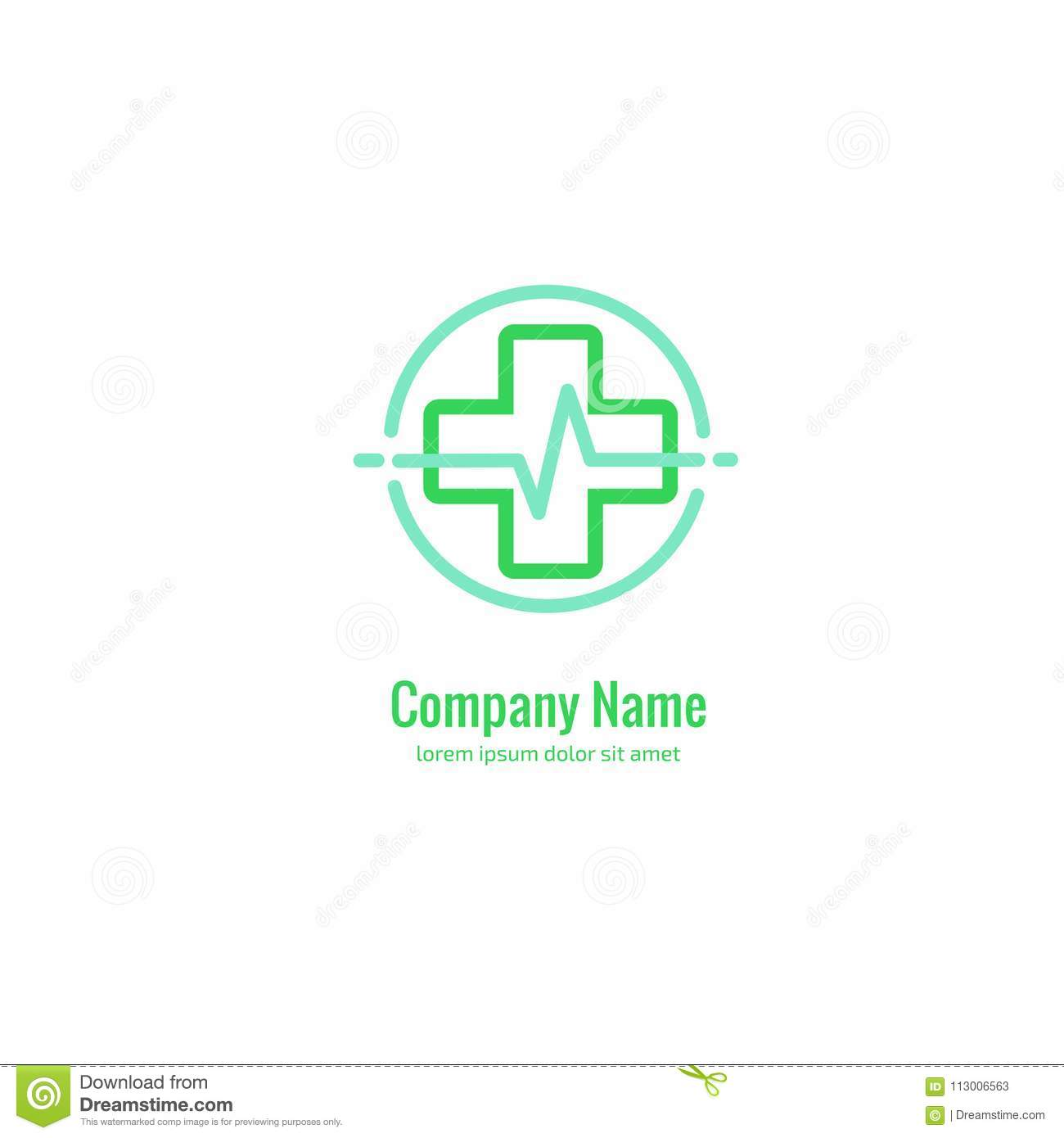 Logo Design Abstract Medical Vector Template Illustration Of Logotype Cross Health Symbol People