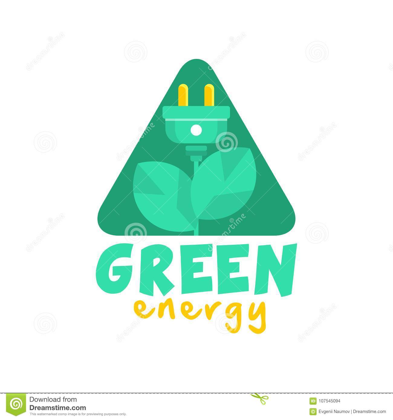 Logo Design With Abstract Plant With Leaves And Electric Plug