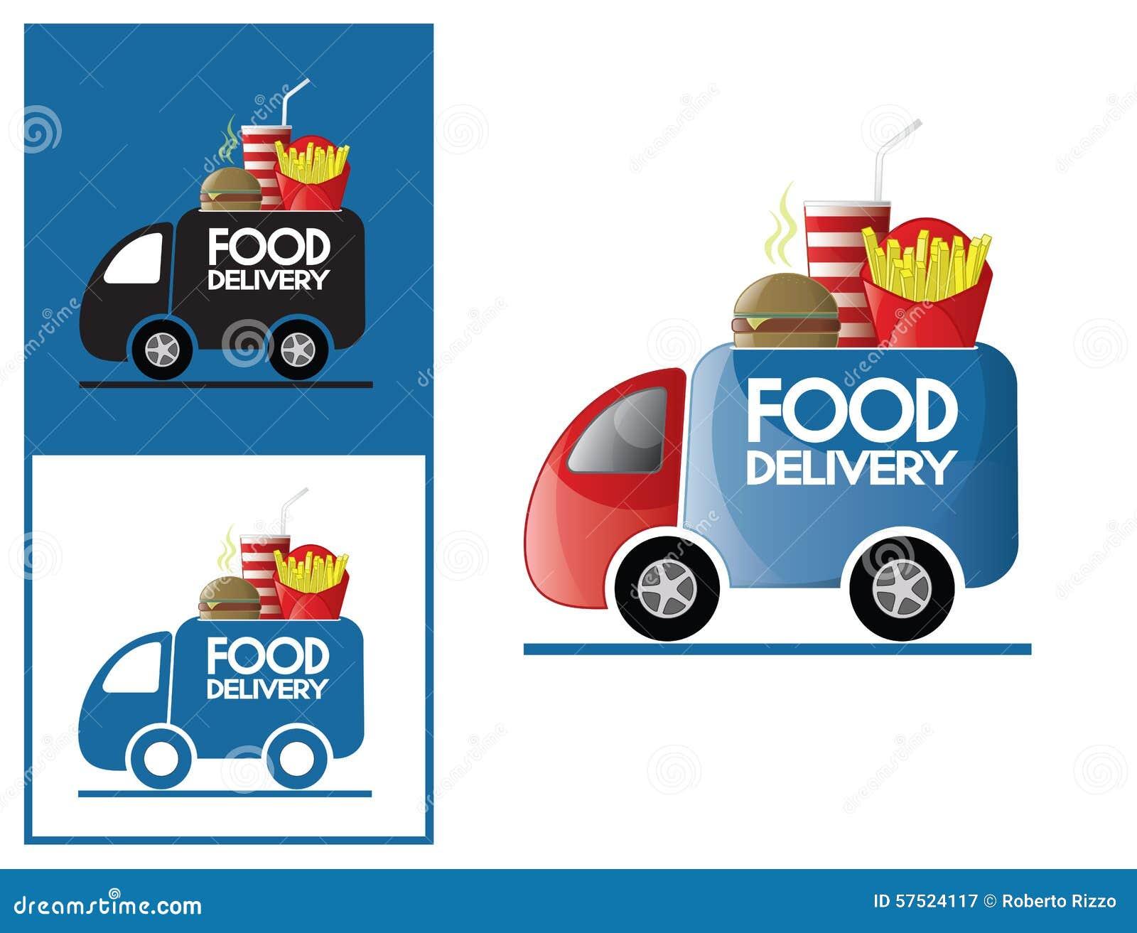 Logo Design Element Fast Food Delivery Service Stock