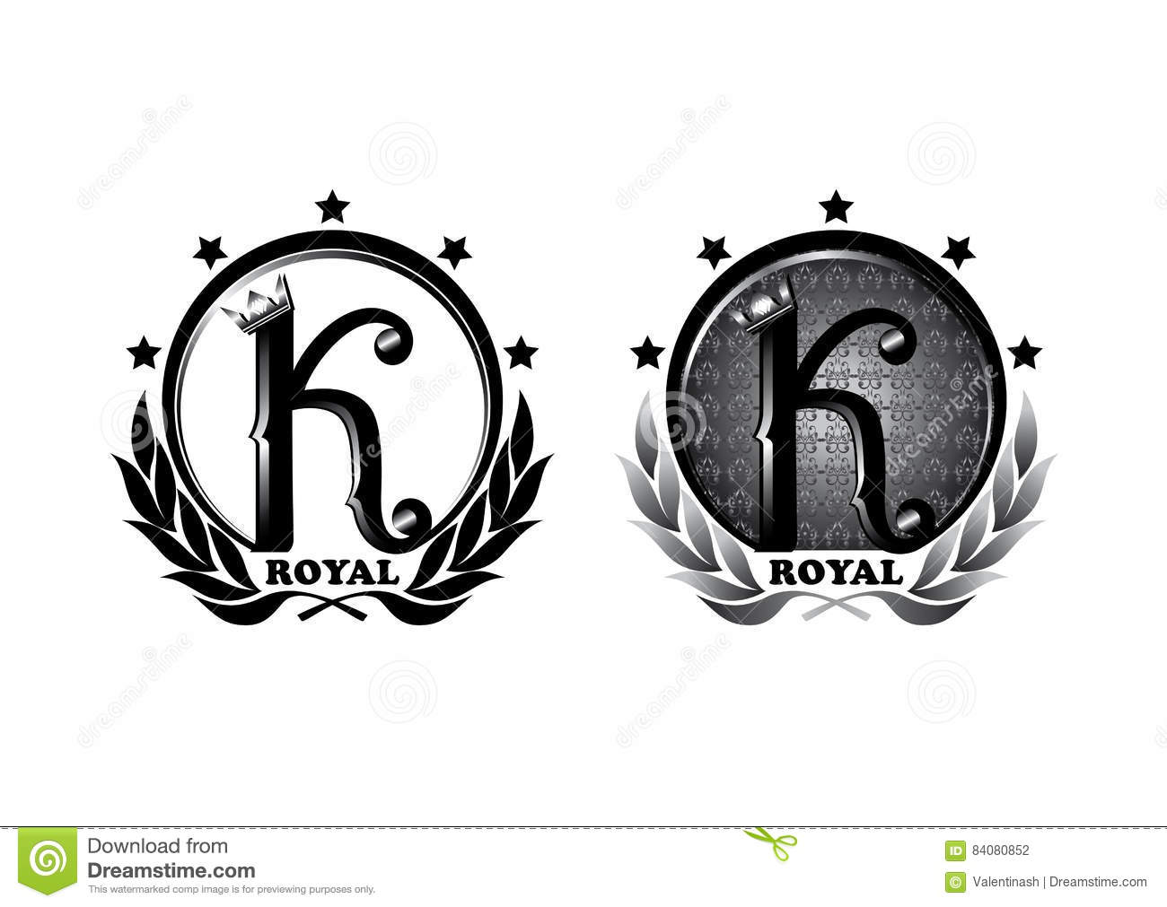 logo design five star king with crown pattern and lettering stock