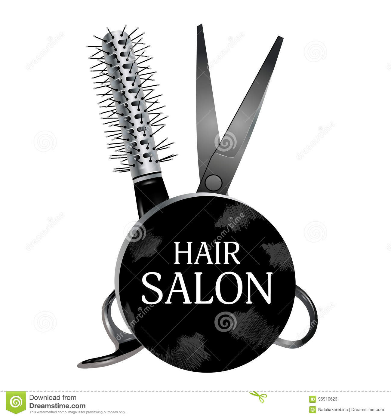 Logo Design Hair Salon With Scissors And Hairbrush Haircut Symb
