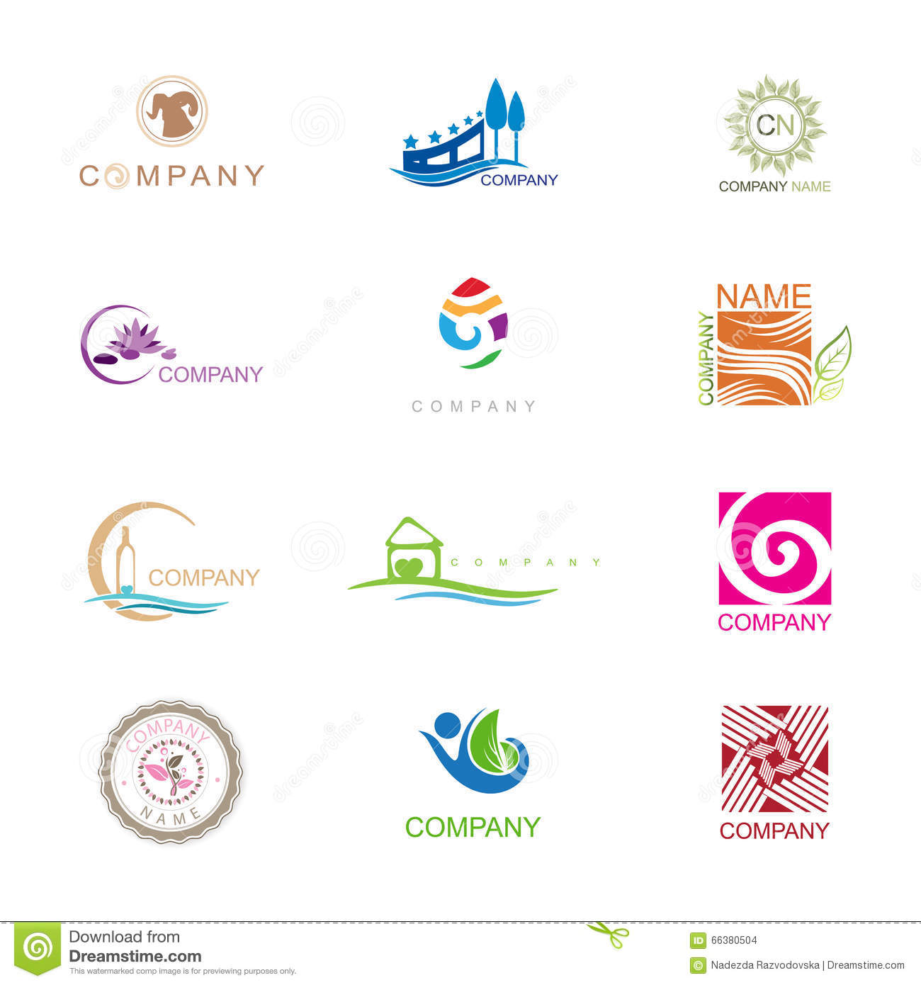 Different Logo Design Collection With Company in Free Font Arial.