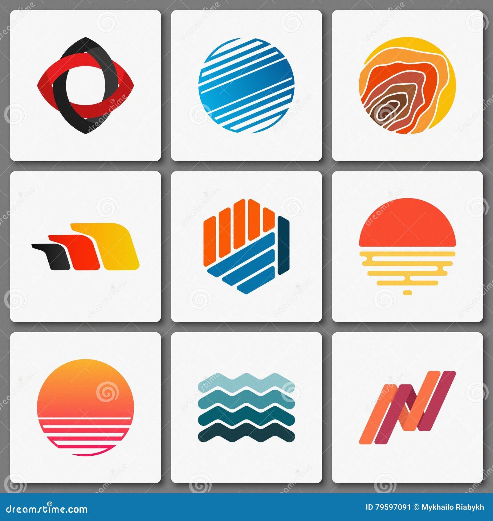 logo design set geometric logos creative abstract