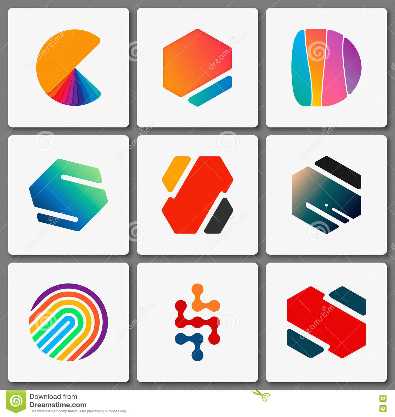 Logo Design Set. Geometric Logos. Creative Abstract . Simple ...