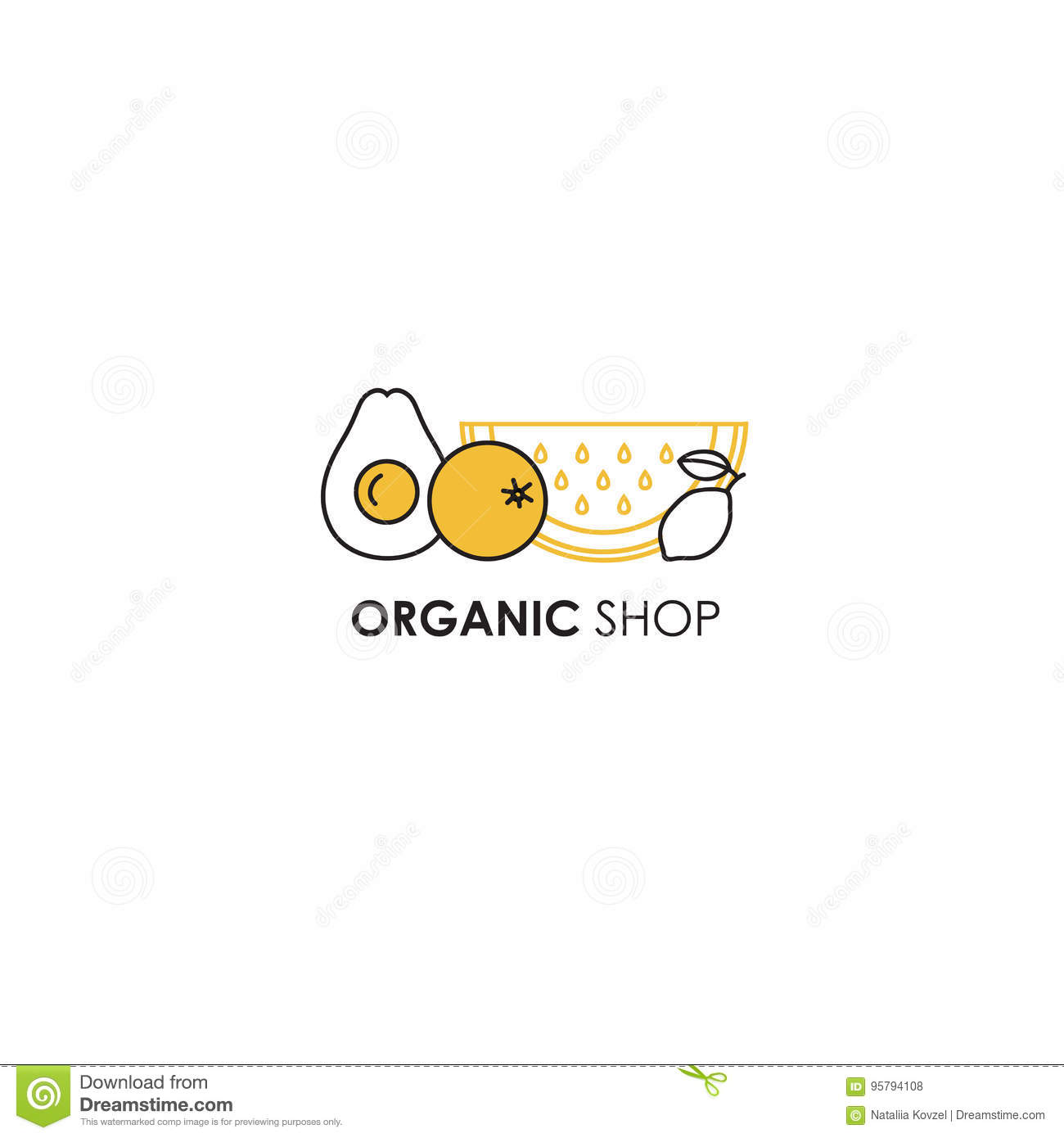 Logo Design Template In Line Icon Style For Organic Products