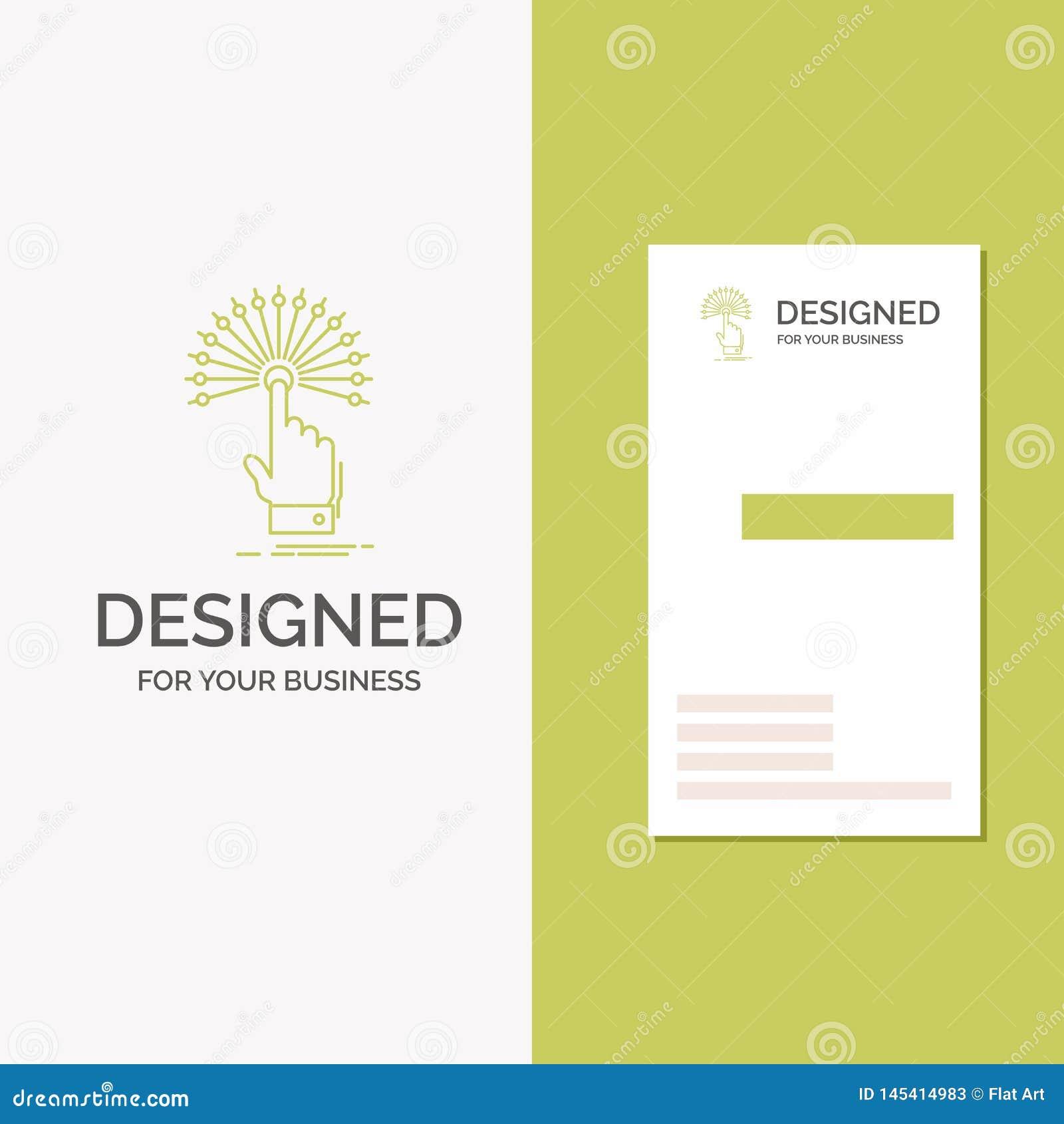 Logo di affari per la portata, tocco, destinazione, digitale, analitica Modello biglietto da visita/di affari verdi verticali cre