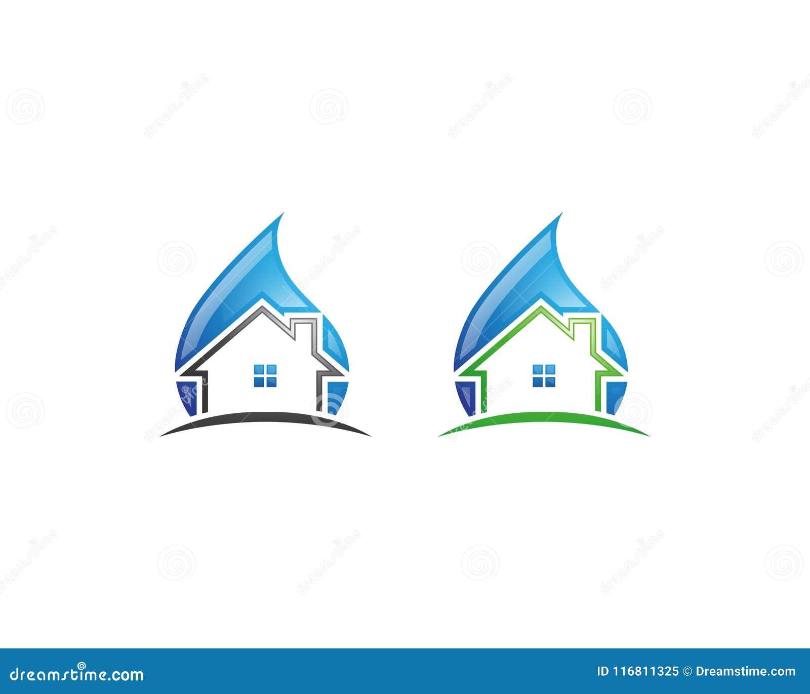 Logo di servizi di pulizia e progettazione domestici dell icona