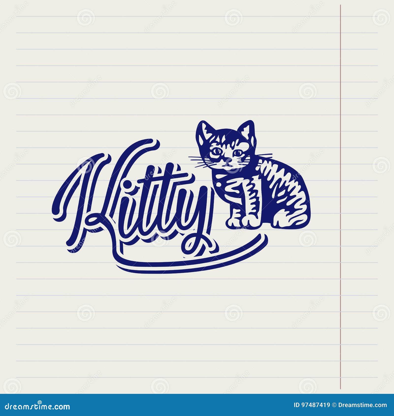 Logo disegnato a mano di vettore con un gattino