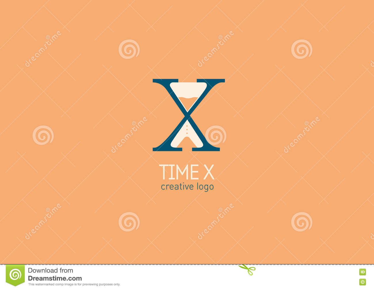 Logo With A Double Meaning The Letter X And Hourglass Stock Vector