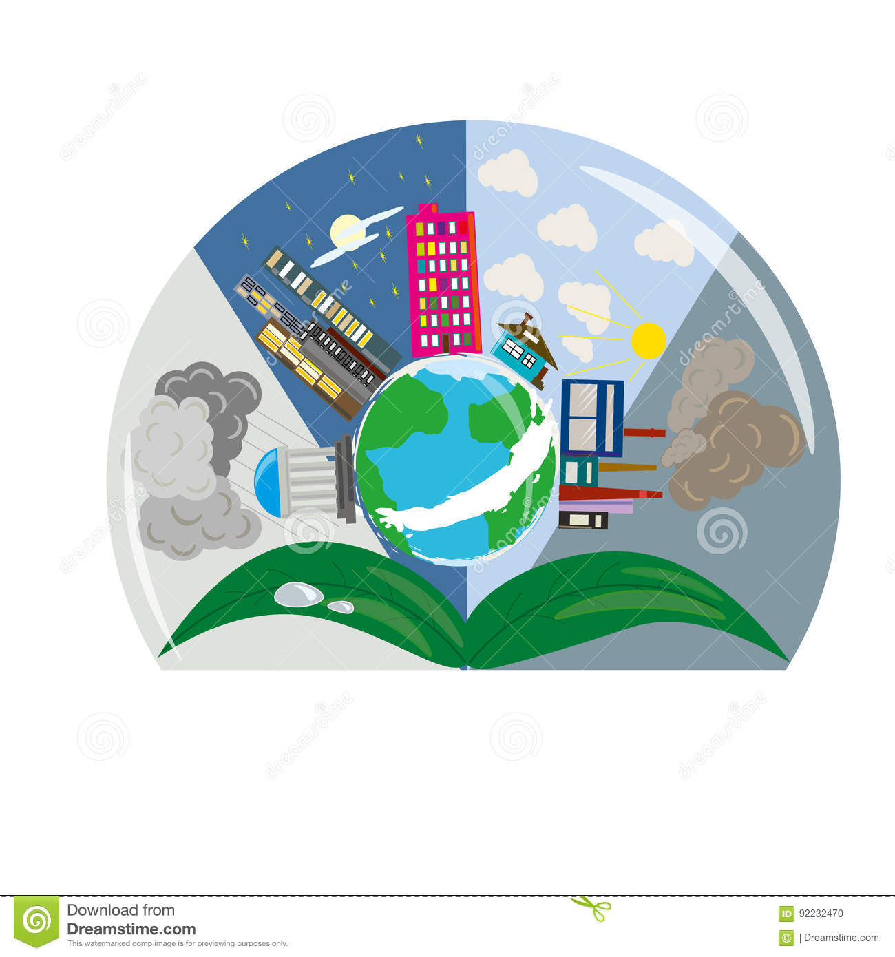 Logo Drawing World Globe Planet Building Sheets Stock Illustration ...