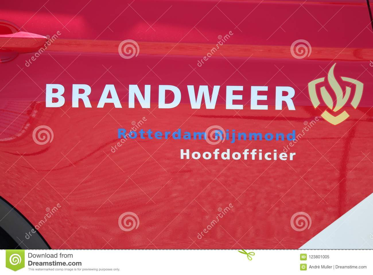 Logo Of The Dutch Fire Fighters Brigade In The Netherlands With Name