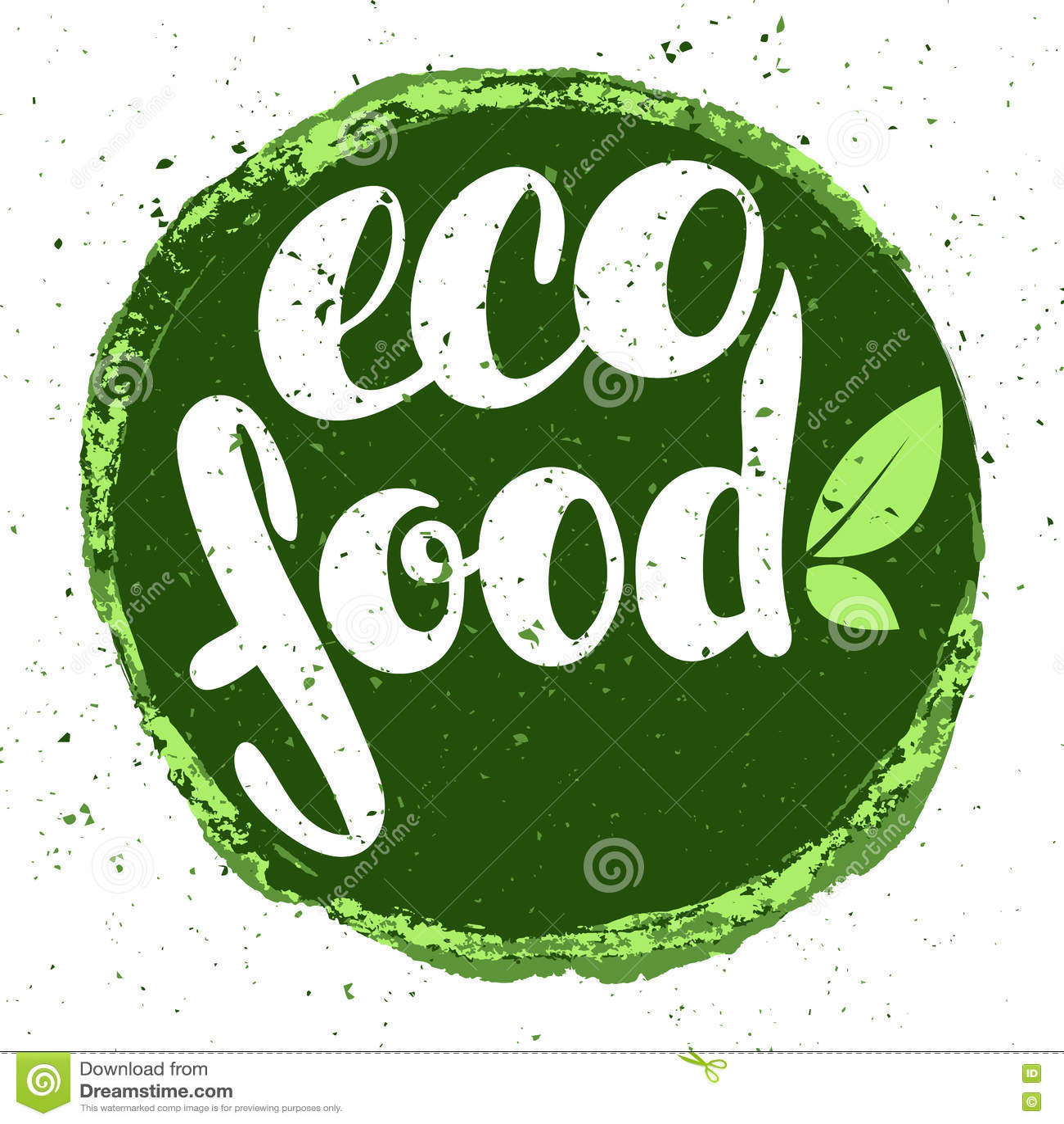 logo eco food with leaves organic food badge in vector. Black Bedroom Furniture Sets. Home Design Ideas