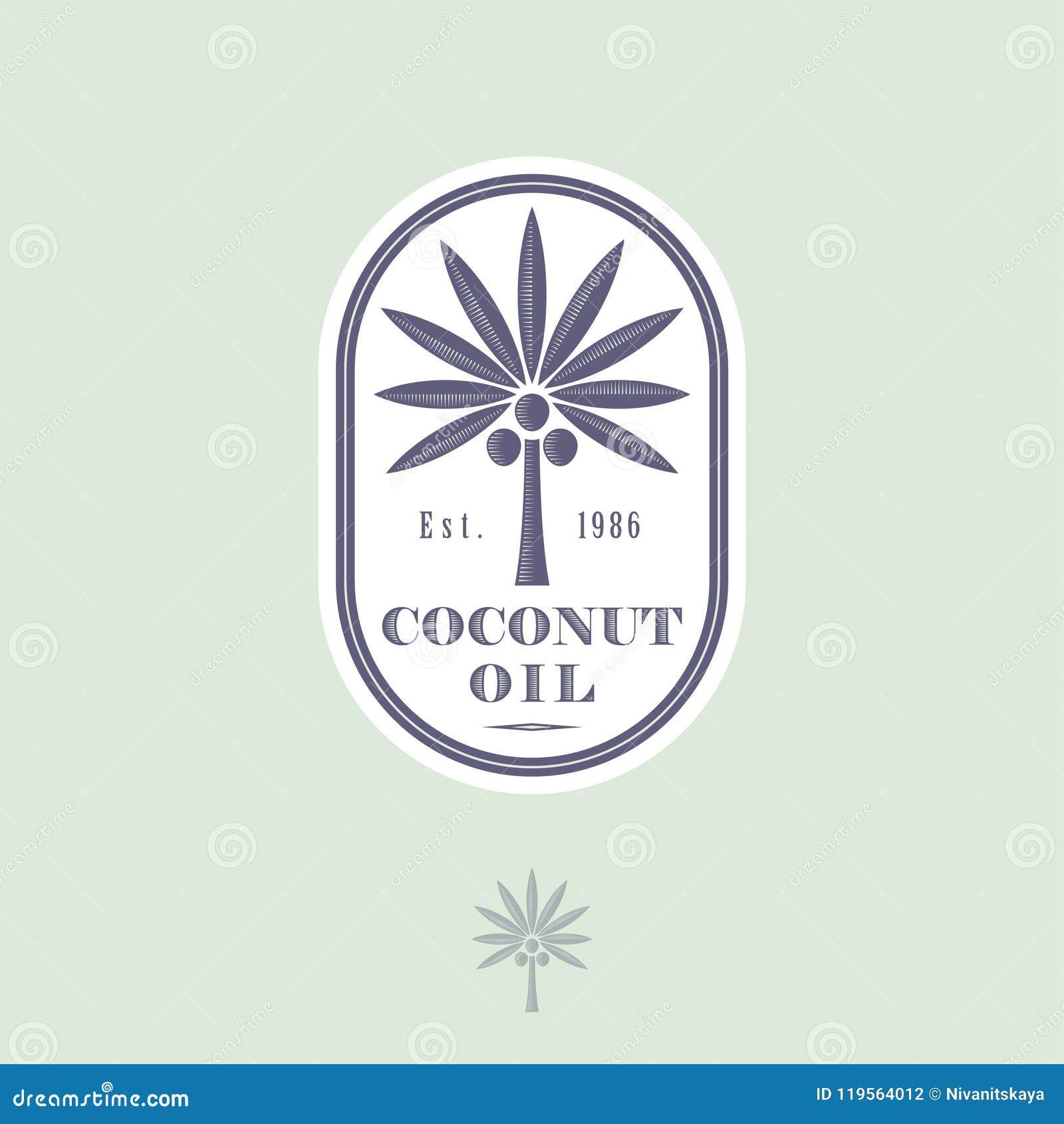 Logo ed etichetta per olio di cocco per imballare Cocco con le lettere in un icona arrotondata