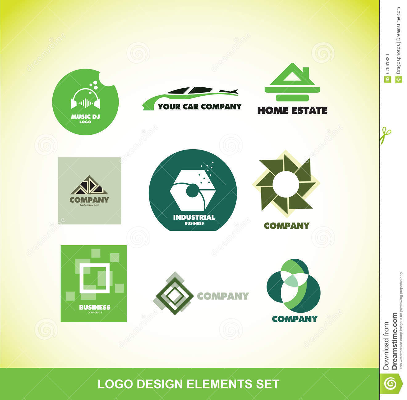 Logo element design company set stock vector image 67961824 for Industrial design company