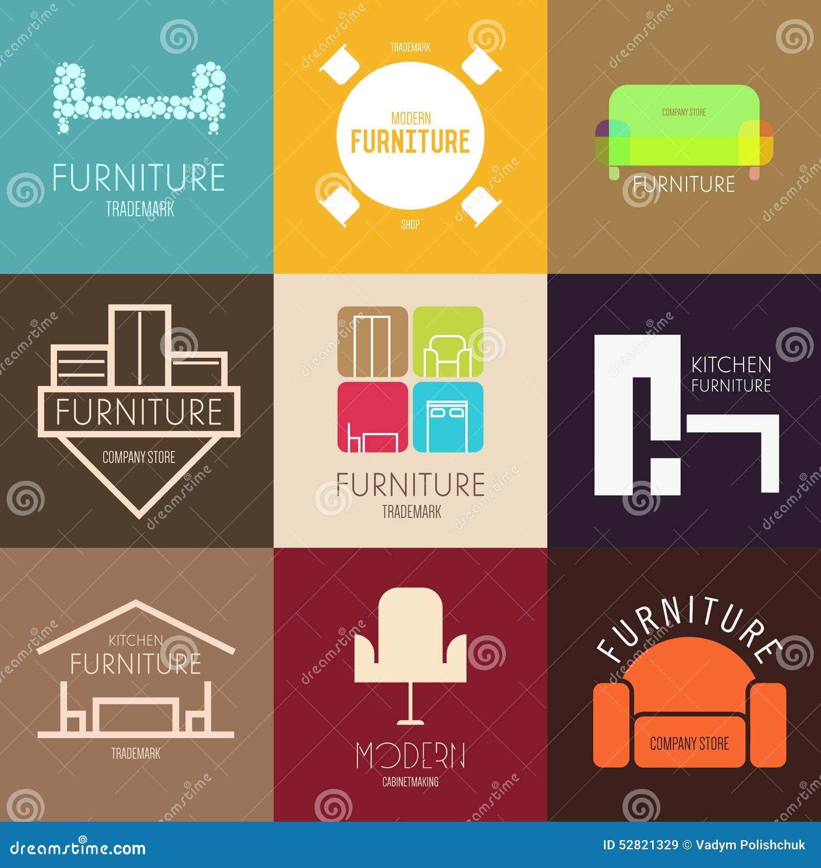 Logo-, emblem- eller etikettinspiration med möblemang för shoppar, företag, advertizingen eller annan affär