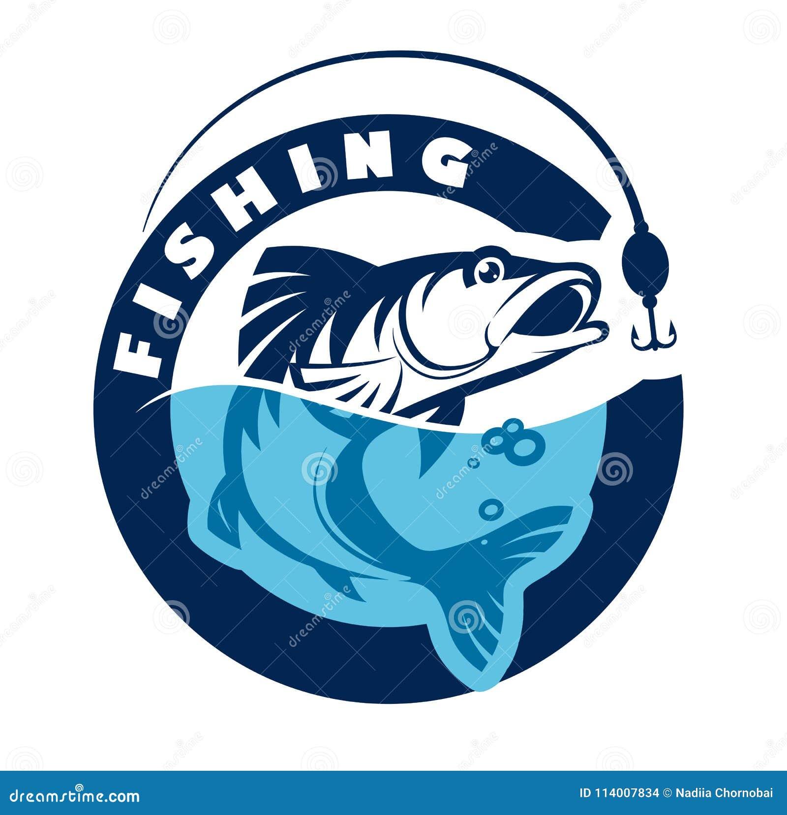 Logo Or Emblem For Fishing Club Vector Illustration Stock Vector Illustration Of Bass Nature 114007834