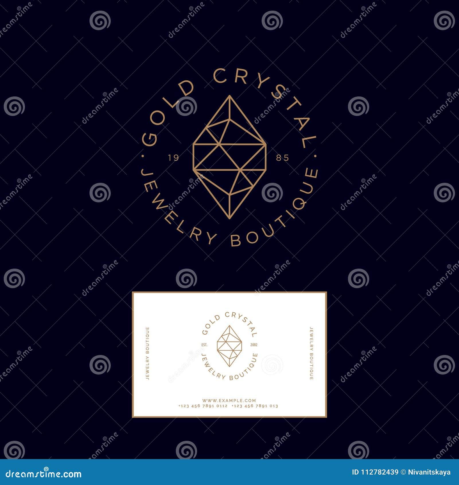 Logo En Cristal D Or Identite Carte De Visite Professionnelle Embleme Bijoux