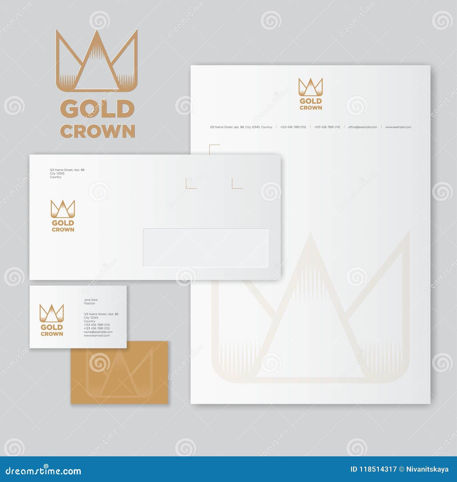 Logo Et Identite De Couronne Dor Enveloppe Lettre Avec Des Filigranes Carte Visite Professionnelle Icone La Dans Le Style